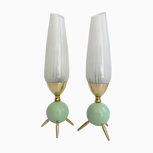 Mid-Century Green Glass and Brass Table Lamps in the Style of Stilnovo, 1950s, Set of 2