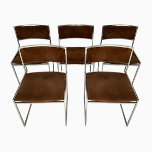 Chrome-Plated Steel and Alcantara Dining Chairs by Willy Rizzo, 1970s, Set of 5