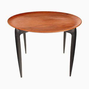 Tavolino pieghevole in teak e legno ebanizzato di Svend Åge Willumsen & H. Engholm per Fritz Hansen, Danimarca, anni '50