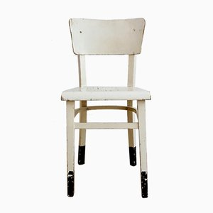 Antique Czechoslovakian White Bentwood Side Chair from Thon