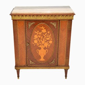Antique French Inlaid Marquetry Cabinet with Marble Top, 1920s