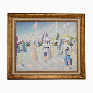 People on the Beach Promenade Gemälde von Paul Frans, 1980er