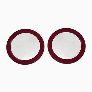Round Bordeaux Mirrors, 1970s, Set of 2