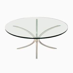 Vintage Steel and Glass Coffee Table, 1970s