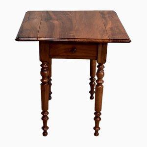 Petite Table d'Appoint Antique en Noyer Massif