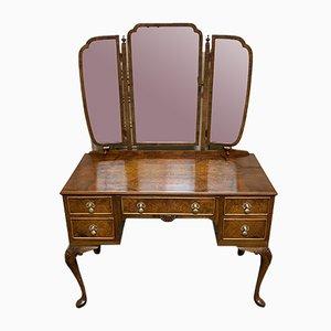 Queen Anne Burl Walnut Dressing Table, 1920s