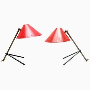Lámparas Pinocchio en rojo de H. Th. J. A Busquet para Hala. Juego de 2