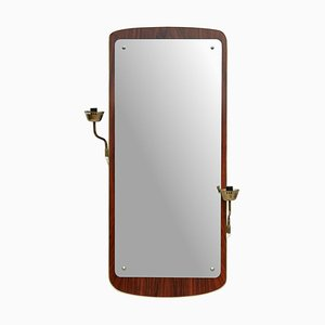 Vintage Swedish Brass Wall Mirror from Glas & Tra, 1960s
