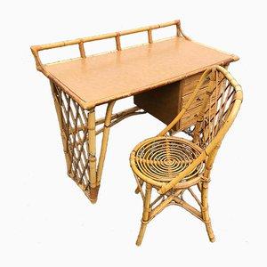 Korbweide Schreibtisch und Stuhl Set, 1960er