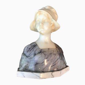 Antike Marmor und Alabaster Büste von Gustave van Vaerenbergh