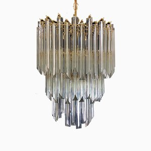 Gilt 3-Tier Chandelier by Venini, 1980s