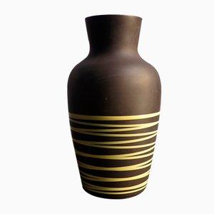 Vase de Sol Jaune à Rayures Marron de Scheurich, Allemagne, 1970s
