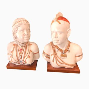 Nubian Couple Sculpture, 1980s, Set of 2