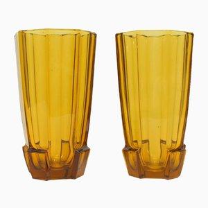 Vases Art Deco en Verre de Val Saint Lambert, 1930s, Set de 2