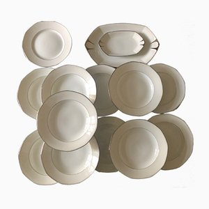 Art Deco Limoges Porcelain Dinner Set from Jean Boyer, 1920s, Set of 15