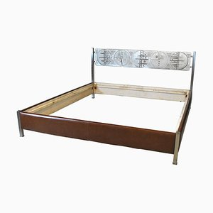 Italian Cast Bronze Model Cosmostrutture Double Bed by Gianni Pinna, 1970s