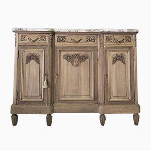 Antique French Wooden Sideboard with Marble Top
