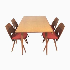 Dining Chairs and Table Set from Tatra, 1970s, Set of 5