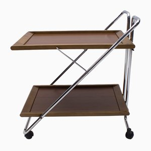 Vintage Walnut and Chrome Folding Serving Trolley, 1960s