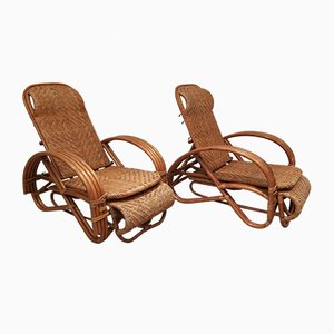 Vintage Adjustable Rattan Chaise Lounges in the Style of Paul Frankl, Set of 2