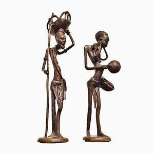 Mid-Century Bronze Burkina Faso Villager Sculptures, 1950s, Set of 2