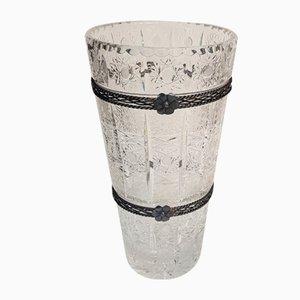 Vaso grande antico in cristallo inciso