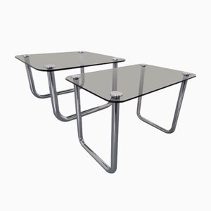 Italian Chrome & Smoked Glass Side Tables, 1970s, Set of 2