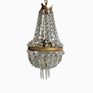 Large Antique Empire Style French Brass and Faceted Crystal Pendant Chandelier