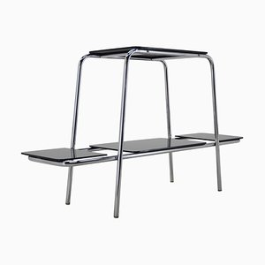 Bauhaus Chrome Flower Side Table Stand or Etagere with Black Opaxite Glass, 1930s