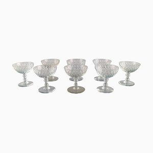Armagnac Champagne Glasses in Mouth Blown Crystal Glass from Baccarat, France, 1950s, Set of 8