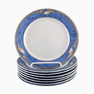 Royal Copenhagen Magnolia Plates, 1990s, Set of 8