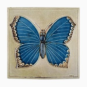 Wall Plaque in Glazed Ceramic with Butterfly by Lisa Larson for Gustavsberg, 1970s