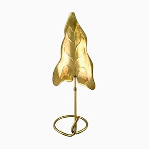 Mid-Century Italian Leaf-Shaped Table Lamp in Brass by Tommaso Barbi