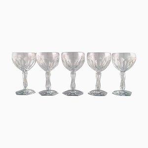 Bicchieri Lalaing in vetro soffiato di Val St. Lambert, Belgio, anni '50, set di 5