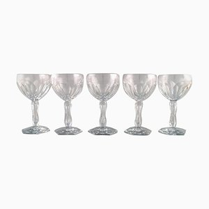 Lalaing Glasses in Mouth Blown Crystal Glass from Val St. Lambert, Belgium, 1950s, Set of 5