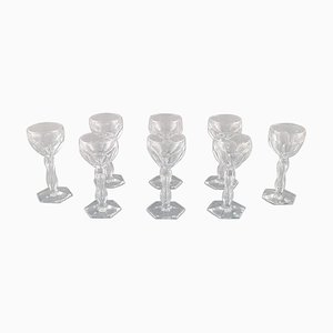 Lalaing Glasses in Mouth-Blown Crystal Glass from Val St. Lambert, Belgium, 1950s, Set of 8