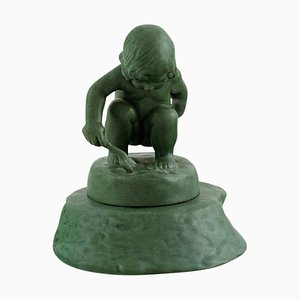 Jade Green Figure of Girl with Shovel by Adda Bonfils for Ipsens Enke, 1920s