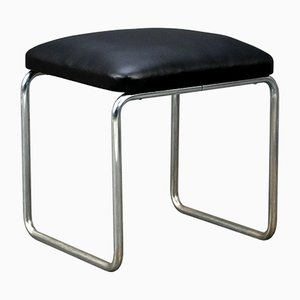 Black Leather B9 Stool by Marcel Breuer for Thonet, 1930s