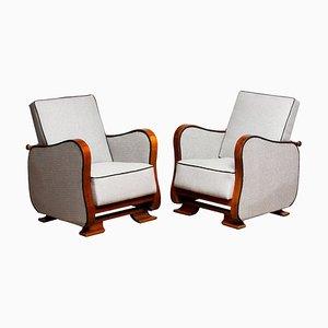 Scandinavian Art Deco Silver Grey on Walnut Lounge Armchairs, 1920s, Set of 2
