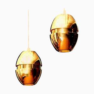 Lampes à Suspension Egg en Laiton par Hans-Agne Jakobsson, 1950s, Set de 2