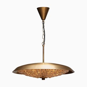 Brass and Glass Ceiling Lamp by Carl Fagerlund for Orrefors, 1950s