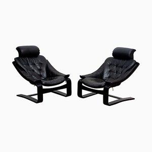 Kroken Lounge Chairs in Leather by Ake Fribytter for Nelo, Sweden, 1974, Set of 2