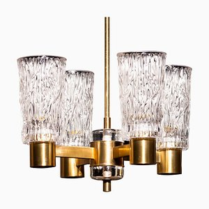 Brass and Crystal Glass Chandelier by Carl Fagerlund Orrefors, Sweden, 1950s
