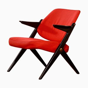 Black Birch & Red Wool Armchair by Bengt Ruda for Nordiska Kompaniet, 1950s