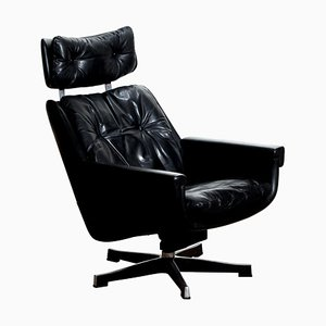 Black Leather Rosario Swivel Rocking Chair by Kurt Hvitsjö for Isku, 1960s