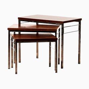 Tables Gigognes en Noyer et Chrome, 1960s