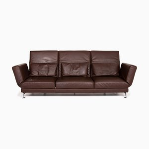 Brown Leather Moule 3-Seat Relax Function Sofa by Roland Meyer-Brühl for Brühl & Sippold