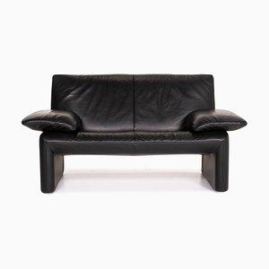 Black Leather 2-Seat Sofa from Jori