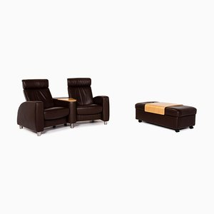 Dark Brown Leather Arion 2-Seat Sofa & Stool from Stressless, Set of 2