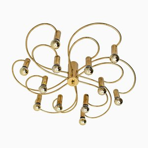 Modernist Sculptural Brass 16-Light Flush Mount, 1970s